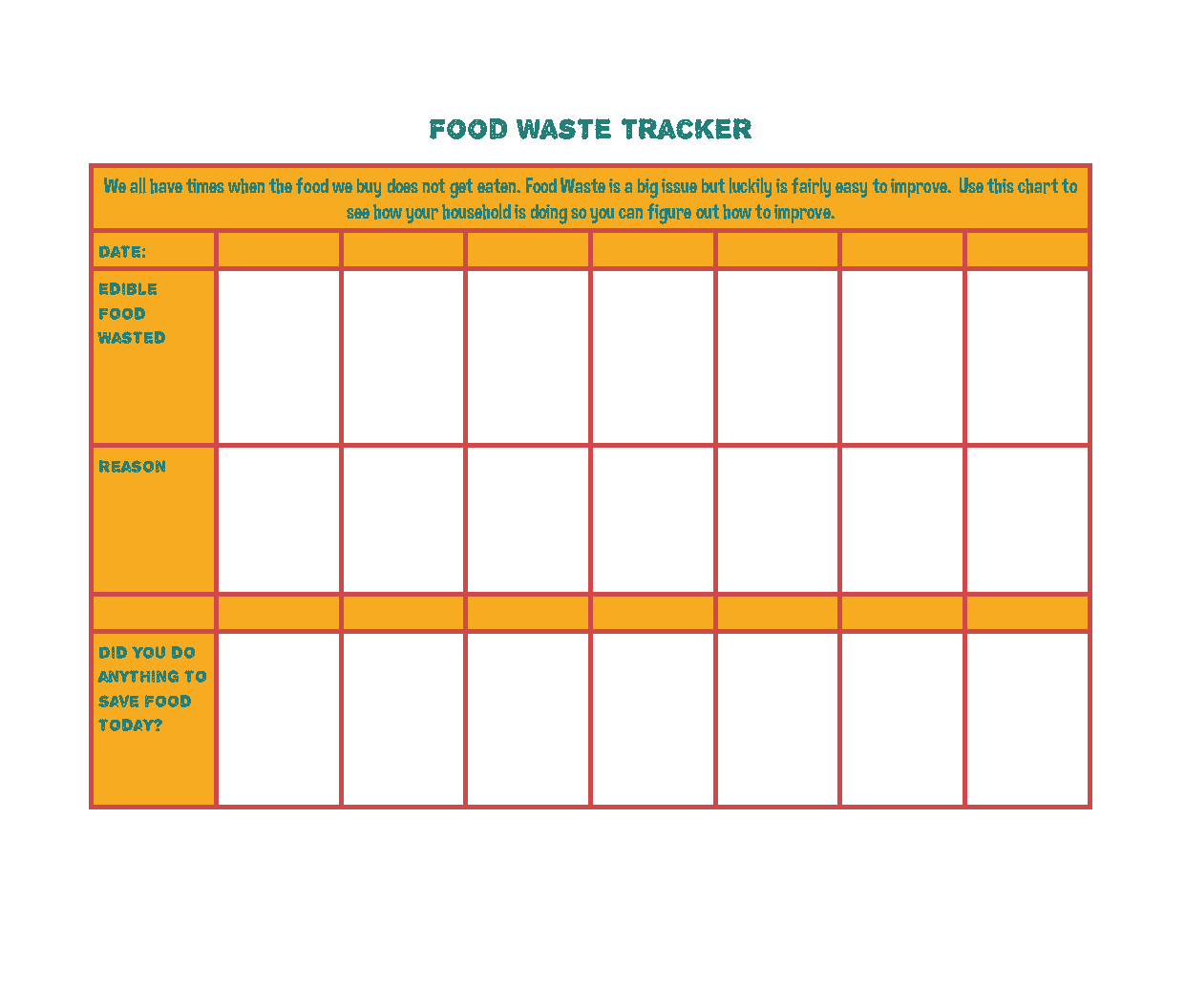 Take Five for the Earth - Food Waste Tracker (PDF)
