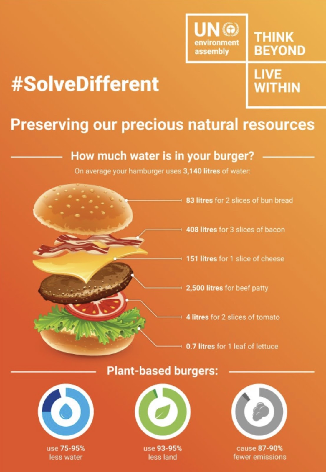 The water content of a hamburger. Graphic by the UN Environment Assembly.